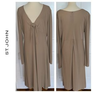 St. John Tan V Neck Dress. Size 14